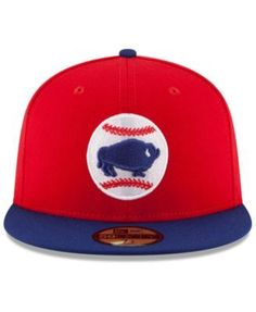 New Era Buffalo Bisons Ac 59FIFTY Fitted Cap - Red 6 7 8 b66e8cd8becc