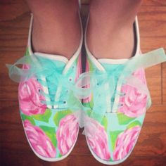 Handpainted Lilly Keds! idea for painting white sneakers and using ribbon/tulle for the laces!