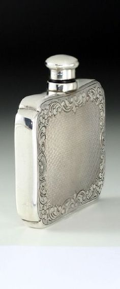 1900 German Bright Cut 830 Silver Scent Bottle