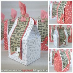 A Stampin' Up! Diy Gift Box, Diy Box, Paper Gifts, Diy Paper, Cardboard Box Diy, Paper Purse, Craft Packaging, Explosion Box, Stamping Up