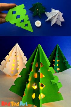 Paper Christmas Tree Luminary – Red Ted Art Easy Origami Christmas Tree Lights – learn how to turn a Paper Snowflake into a fabulous Light up Paper Christmas Tree Craft. Such a cute Paper Christmas Decoration to make this season Origami Christmas Tree Card, Paper Christmas Decorations, Creative Christmas Gifts, Christmas Paper Crafts, Paper Crafts For Kids, Easy Crafts For Kids, Christmas Crafts For Kids, Christmas Projects, Christmas Trees