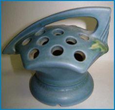 Vintage Roseville Blue Bleeding Heart Flower Frog from antiquesshowroom on Ruby Lane