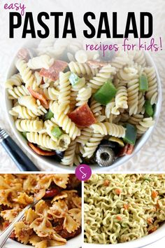 Easy Pasta Salad Recipes for Kids: Whether you're looking for a dish for a picnic, a pot luck or just a family dinner you can't beat these easy recipes!