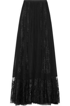 Black silk-chiffon and lace Hook and zip fastening at back 47% silk, 43% rayon, 10% polyamide; lining: 75% polyamide, 25% silk Dry clean