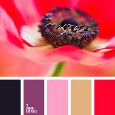 Палитра построена на контрасте алого и черного цветов. Этот контраст смягчает присутствие в палитре фиолетового, розового и песочно-бежевого цвета. При пошиве одежды ее можно использовать для создания оригинального коктейльного платья.-401