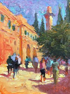 """Up to The Gate,"" Jerusalem, 6 x 8 inches, Oil.  Artist, Guy Jackson.  www.guyjacksonart.com. Impressionist Art, Jerusalem, Art Oil, Gate, Jackson, Artist, Painting, Portal, Artists"
