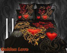 Golden Red Black King Full Queen Duvet Comforter Bed Bedding Set Egyptian Cotton