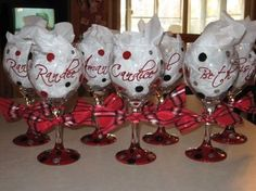 Wedding, Reception, Red, Bridesmaids, Black, Silver, Sassy glasses by stephanie handpainted, personalized glassware