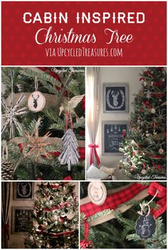Rustic Cabin Inspired Christmas Tree I Upcycled Treasures We ditched most of our usual ornaments, and made our own using leftover materials from our wedding Christmas Lodge, Woodland Christmas, Primitive Christmas, Country Christmas, All Things Christmas, Winter Christmas, Christmas Holidays, Merry Christmas, Xmas