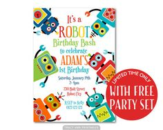Fun Robot Birthday Invitation Printable by TracyAnnPrintables Diy Party Banner, Party Flags, Birthday Flags, Happy Birthday Banners, Printable Birthday Invitations, Party Printables, Thank You Tags, Party Signs, Cards