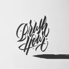 typegang:Brush hour: the time of day when it's getting late but… Handwritten Typography, Calligraphy Logo, How To Write Calligraphy, Creative Typography, Typography Letters, Graphic Design Typography, Lettering Design, Copperplate Calligraphy, Types Of Lettering