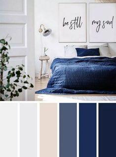 Best Living Room Color Schemes Idea [To Date] navy blue and neutral bedroom color palette Blue Bedroom Colors, Dark Blue Bedrooms, Bedroom Colour Palette, Bedroom Colour Schemes Neutral, Neutral Color Palettes, Color Palette Blue, Interior Design Color Schemes, Navy Bedrooms, Grey Bedroom With Pop Of Color