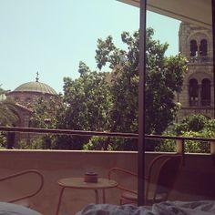 Instagraming the #view from #NEWHotel's Studio! #yeshotels #athens #balcony #veranda #church #hotelroom Palace Hotel, Hotel S, Athens, Balcony, Photo And Video, Studio, Instagram, Design, Terrace