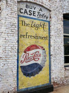 Vintage Pepsi Cola mural brick ad sign in Winston-Salem