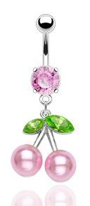 Amazon.com: 316L Surgical Steel Navel Jewelry with Pink Pearl Cherries and Pink Ice Crystal: Jewelry