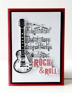 Rock Amp Roll Card By Rachel Greig Using Darkroom Door Sheet Music Texture Stamp And Birthday Cards For MenHandmade CardsCard Ideas