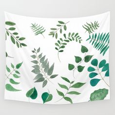 """Leaves (Watercolor) - """"Please don't leaf me"""" Wall Tapestry by urbisie Wall Tapestries, Tapestry, Hand Sewn, Vivid Colors, Crisp, Indoor, Cold, Watercolor, Interior"""
