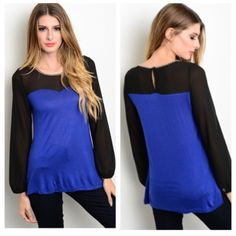 """Blue/ black top Blue/ black top Length- small: 26"""" • medium/ large 27"""" Materials- 100% rayon. The black part is sheer and the neckline is jeweled. Very stretchy top! Perfect for holiday parties! Button closure on the backside. NWT. Brand new with tags. Availability- S•M•L • 2•2•1                           Price is firm unless bundled. No trades Boutique Tops"""