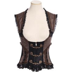 STEAMPUNK STORY BC Steampunk brown and black bustier open on neckline, overbust corset style Steampunk Vest, Steampunk Fashion, Victorian Steampunk, Steampunk Clothing, Waist Cincher Corset, Overbust Corset, Body Corset, Bustiers, Black Bustier