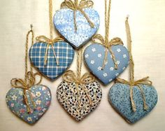 Heart ornament - Blue Heart Ornaments, Heart Party Favor, Home Decoration, Bridal Wedding Favors, Holiday Celebration - Clay Christmas Decorations, Valentine Decorations, Valentine Crafts, Christmas Crafts, Christmas Ornaments, Heart Decorations, Easy Crafts To Make, Diy And Crafts, Fabric Hearts