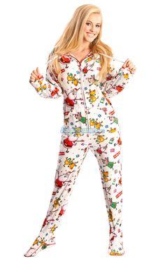 Santa Baby - Hooded Footed Pajamas - Pajamas Footie PJs Onesies One Piece Adult Pajamas - JumpinJammerz.com