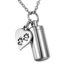 HooAMI Pet Paw Heart Charm & Cylinder Memorial Urn Necklace Stainless Steel C... #HooAMI #PawPrintHeart