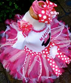 Image detail for -Personalized Minnie Mouse Birthday Tutu Clothing Minnie Mouse Birthday Outfit, 1st Birthday Tutu, Fourth Birthday, 2nd Birthday Parties, Birthday Ideas, Crochet Minnie Mouse Hat, Pink Minnie, Cute Outfits For Kids, Party Items