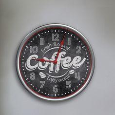 "12"" Round Fresh Brewed Coffee Wall Clock"