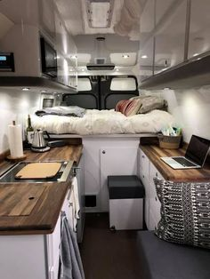 on both sides /Storage on both sides / Next on our list of van life ideas is wooden cladding. This is becoming a popular way to build out the interior of your campervan, and I can see why, the rustic wood really gives the impression of b. Van Conversion Interior, Camper Van Conversion Diy, Van Interior, Motorhome Interior, Bus Living, Tiny House Living, Trailers Camping, Vintage Camper, Kombi Home