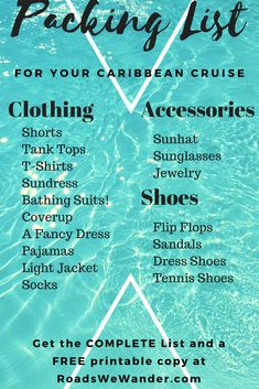Are you getting ready for an upcoming Caribbean Cruise? Are you unsure of what you'll need to pack? Don't worry! Here is the perfect list of items you'll want to pack for your cruise! Get the complete list and your FREE printable copy now! #travel #packing #tips #cruise