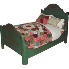 """Best 1890s Hand Painted """"Christmas"""" Doll Bed ; madei in South Paris, Maine, part of complete bedroom set; seller has dressed bed with early 20th c quilt fragment; 8.5"""" x 12"""" wide x 17.5 for mattress area"""