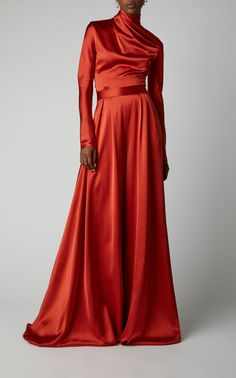 Pleated Silk-Satin Wide-Leg Pants by Brandon Maxwell Satin Top, Silk Satin, Brandon Maxwell, Orange Dress, Wide Leg Pants, Bridal Gowns, Formal Dresses, Long Dresses, Maxi Dresses
