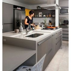 Como incrível o efeito que esse tijolinho faz na cozinha!