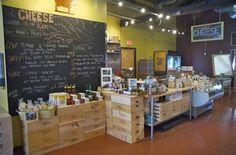 Cheese shop in Oregon.  Note blackboard...