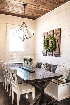 Dining Room Table For Small Dining Room, Your room isn't going to seem cohesive. If your dining room also acts as a living space, you're going to want to keep the dining table from the middle. Industrial Farmhouse Decor, Farmhouse Wall Decor, Farmhouse Design, Rustic Farmhouse, Country Home Design, Country Decor, Farmhouse Ideas, Farmhouse Interior, Rustic Table