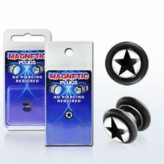 Fake Illusion Fake Piercing Magnetic Star Black White Ear Pair Ear Gauge Plug US | eBay