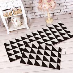 Plush Soft Kitchen Rug Black White Flannel Carpet Bedroom Floor Runner Doormat