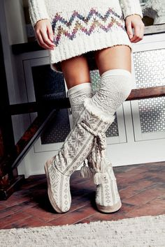 Muk Luks GRACE Slipper Boots - Winter White Collection #Slippers #Boots #Mukluks #Cozy