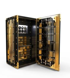 J. Emmanuel Knox Luxury Safe Exlusive Furniture #JE #JEmmanuel #Glass #Gold #Artwork #Sophisticated #Safest #Treasure #Guard #Precious #Possession #DetailedWork #MetalWork #Security #Luxury #GroupeLuxe