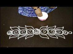 beautiful and creative side rangoli designs , kolam side designs , lates. Rangoli Side Designs, Simple Rangoli Border Designs, Rangoli Designs Latest, Rangoli Borders, Free Hand Rangoli Design, Small Rangoli Design, Rangoli Patterns, Rangoli Ideas, Rangoli Designs Diwali