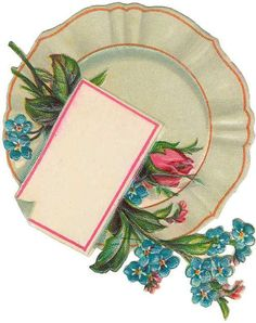 interesting graphic ~ plate with flowers and a place card