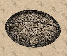 Printable Rugby Ball football black and white vintage image Instant Download Digital picture clipart graphic - transfer, burlap, iron on etc by UnoPrint on Etsy