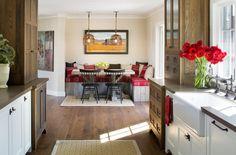 white kitchen, wood cabinets