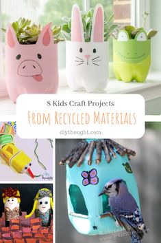 8 kids craft projects from recycled materials. Use recycled goods such as egg cartons and plastic bottles to make fun kids crafts. Crafts From Recycled Materials, Recycled Crafts Kids, Craft Projects For Kids, Fun Crafts For Kids, Diy For Kids, Crafts To Make, Gifts For Kids, Craft Ideas, Recycling For Kids