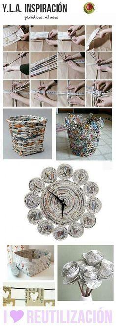 papierkorb seiten aus zeitschriften zu streifen falten. Black Bedroom Furniture Sets. Home Design Ideas
