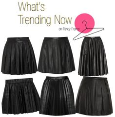 """""""What's Trending Now: Black Leather Pleated Skirts"""" by fancyfrancy on Polyvore"""