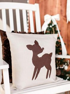 The handmade holiday decorating experts at HGTV.com share step-by-step instructions for making an easy holiday pillow featuring a reindeer's silhouette.