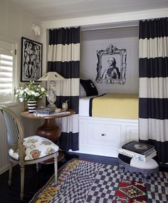 small bedroom design.  Built-in bed  yellow black and white. stephen schubel