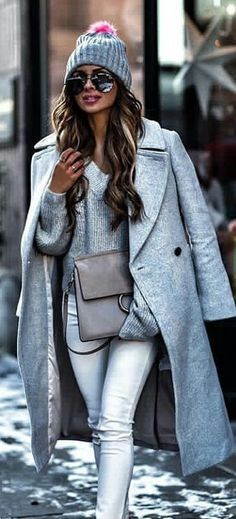#winter #outfits  grey coat