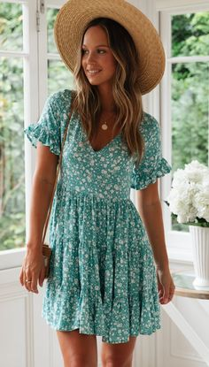 Mode Delicate Aqua Floral Skater Dress – Gabi Swimwear Buying The Right Type Of Mens Watches Apart f Casual Dresses Plus Size, Dress Plus Size, Casual Dresses For Women, Cute Dresses, Short Sleeve Dresses, Elegant Dresses, Sexy Dresses, Short Sleeves, Cute Summer Dresses
